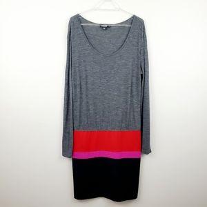 DKNY | Long Sleeve Colorblock Drop-Waist Dress